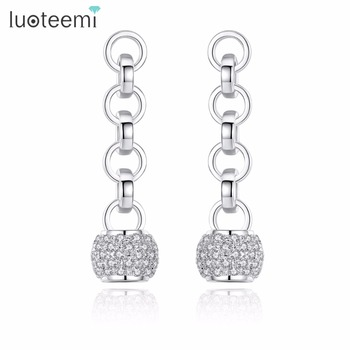 LUOTEEMI Office Female Geometric Cubic Zirconia Ball Silver Color 4 Loops Statement Drop Earrings for Women Boucles Doreilles