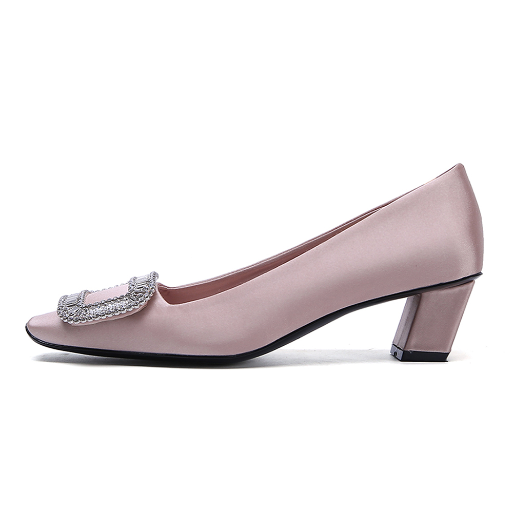 Shoes Occasion With Ladies Rhinestone Formal Luxury Heeled Office Ruby Dress Ornaments Shoes Toe Silk Women's Square ZzfR6d
