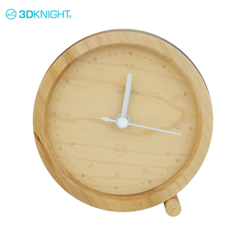 Handmade 9.2*9.2cm natural round wooden click mantle clock wood