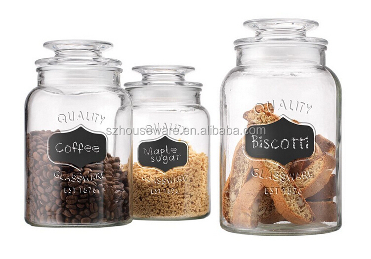 2016new style set of 3 glass storage jar glass canister set with chalkboard