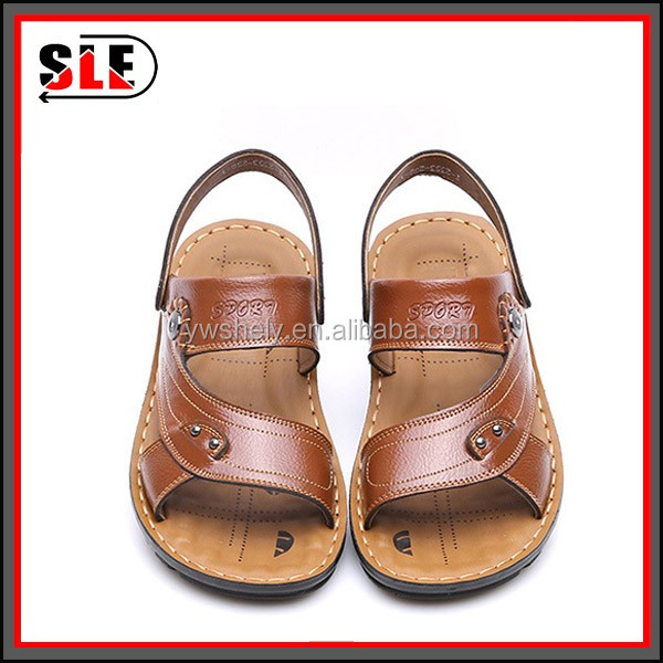 Newest African custom slides no heel kito leather men sandals