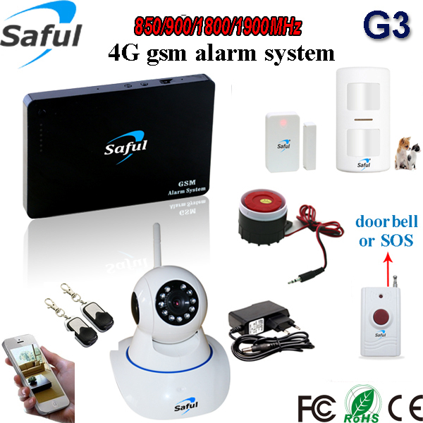 Saful G3 2G|3G|4G Wireless GSM alarm system IP Camera for Security Alarm System