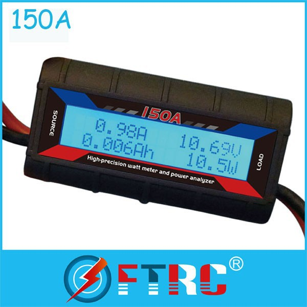 60V/150A Watt/Volt/ Amp meter data logger with Heavy 10 Gauge Wire for wind/solar
