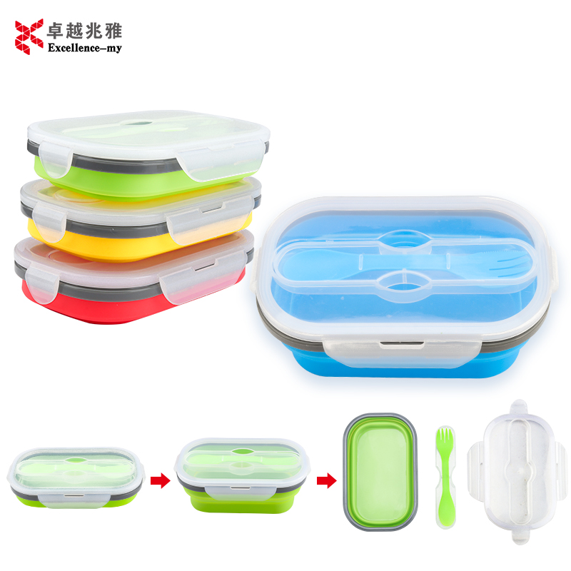 New Designed Microwave Safe bento lunch box Collapsible Silicone Food Container With Spoon Fork Silicone folding Lunch Box