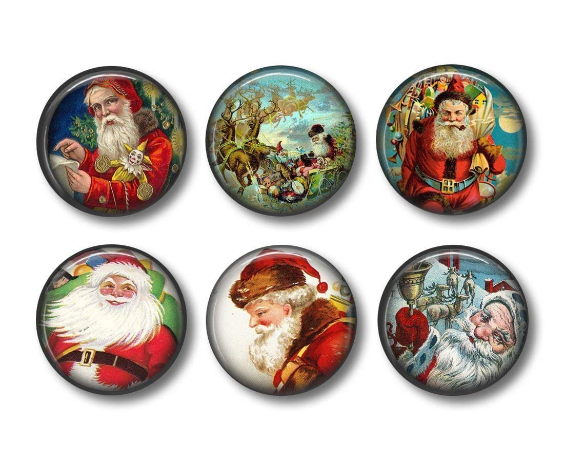 Cute Santa Claus Magnets Jolly Old Saint Nick Six Round 1.5 Inch Magnets Christmas Kitchen