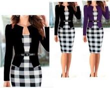 Elegant Women Dress Belt Tartan Patchwork Tunic Dress Work Business Plaid Bodycon Pencil Sheath Women Office Dress