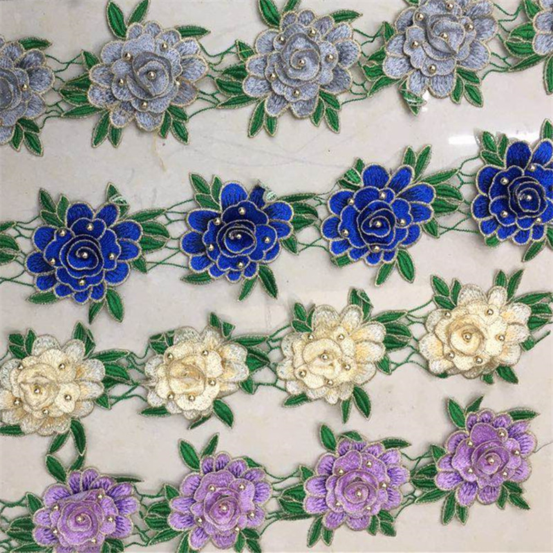2018 new design white polyester embroidery lace for garment
