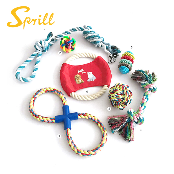 SPRILL Most Popular Custom Design Plush Rope Dog Toy Gift Pet Set Dog Chew Toy pack