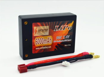 lipo factory Vant Battery 7.4V 6000mAh 2S Cell 90C-180C Square HardCase LiPo Battery Pack w/ 4mm Bullet & Deans Ultra Connector