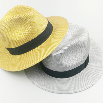 eb6d752ae866 Custom Spring Summer Holiday Wear Gold Silver Metallic Foil Sprayed Paper  Straw Fedora Hat