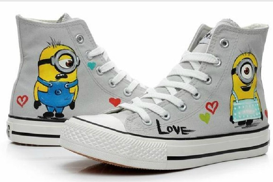 ec17440c8348 despicable me shoes kids minion shoes hand painted cartoon sneakers boys  canvas shoes children girls high top sneakers