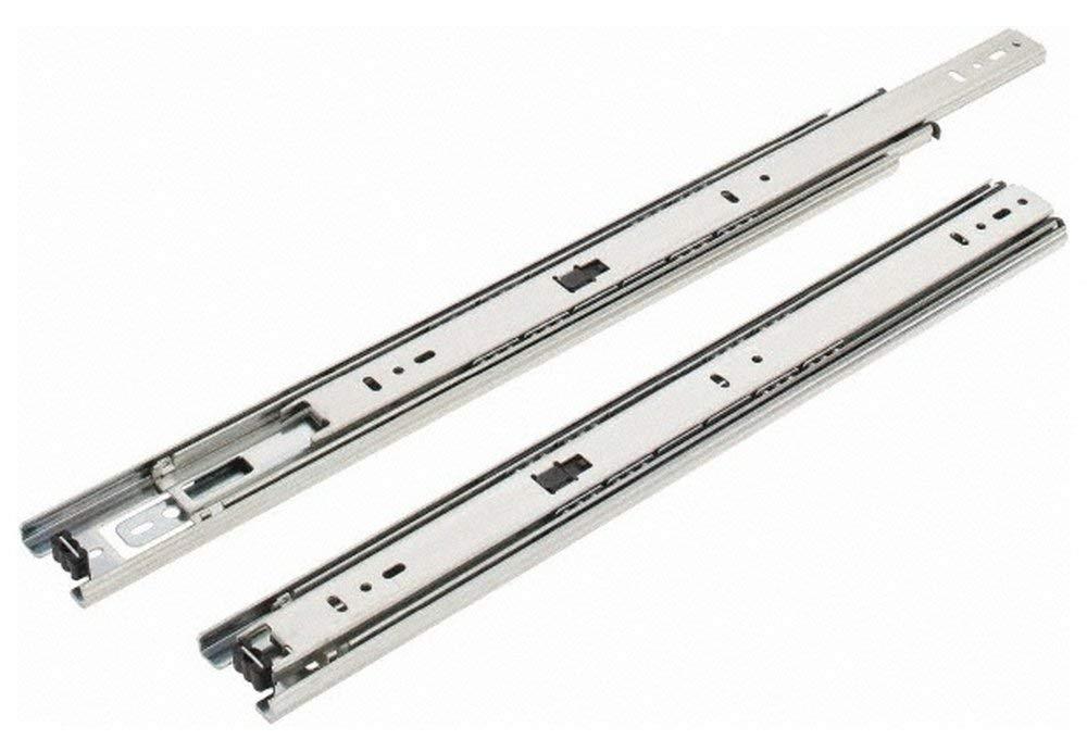 "16"" Slide Length, 16"" Travel Length, Steel Precision Drawer Slide, 1/2"" Wide, 1-13/16"" High, 100 Lb Capacity at Full Extension, Chrome Finish (2 Piece Set)"