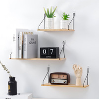 Nordic home decor metal and wood wall mounted shelf
