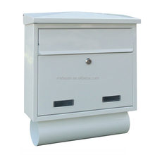 Wall mounted metal letterbox postbox apartment mailbox with newspaper holder