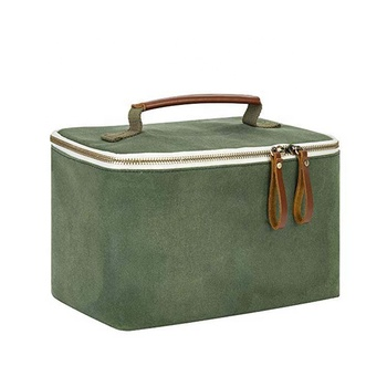 Custom Dark Green Tote Inner Cooler Waxed Canvas Bag Lunch