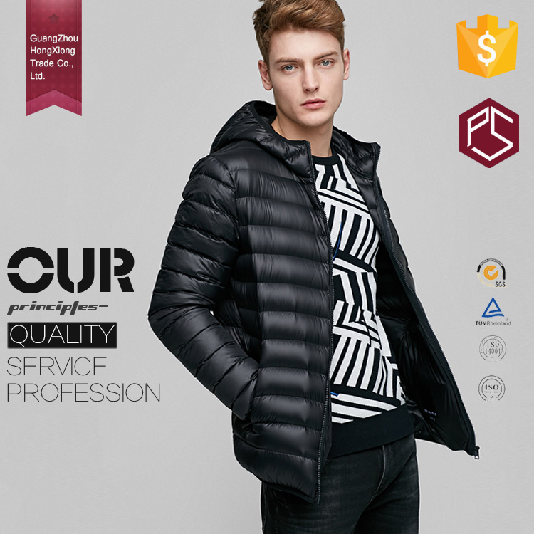 HongXiong OEM Winter Low Price High Quality Collar Zipper Men Down Goose Feather Jacket