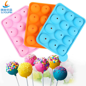 12 Cavity Silicone Lollipop Candy Cake Molds With Sticker Cake Pop Maker for Birthday Party