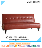 Red Bycast PU Leather Adjustable Futon Sofa Bed Sleeper Couch