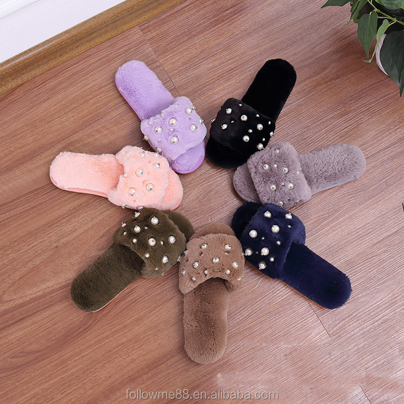 Pearl diamond style rabbit fur slippers/lady winter slipper S4