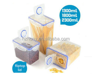 set of 3pcs PP Airtight Dry Food Storage Container with Fliptop Lid, Cereal keeper