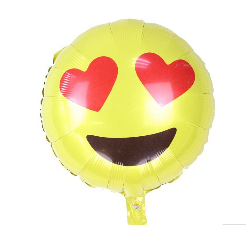 18inch Cute Round Foil Emoji Balloon Love Eyes Emotions