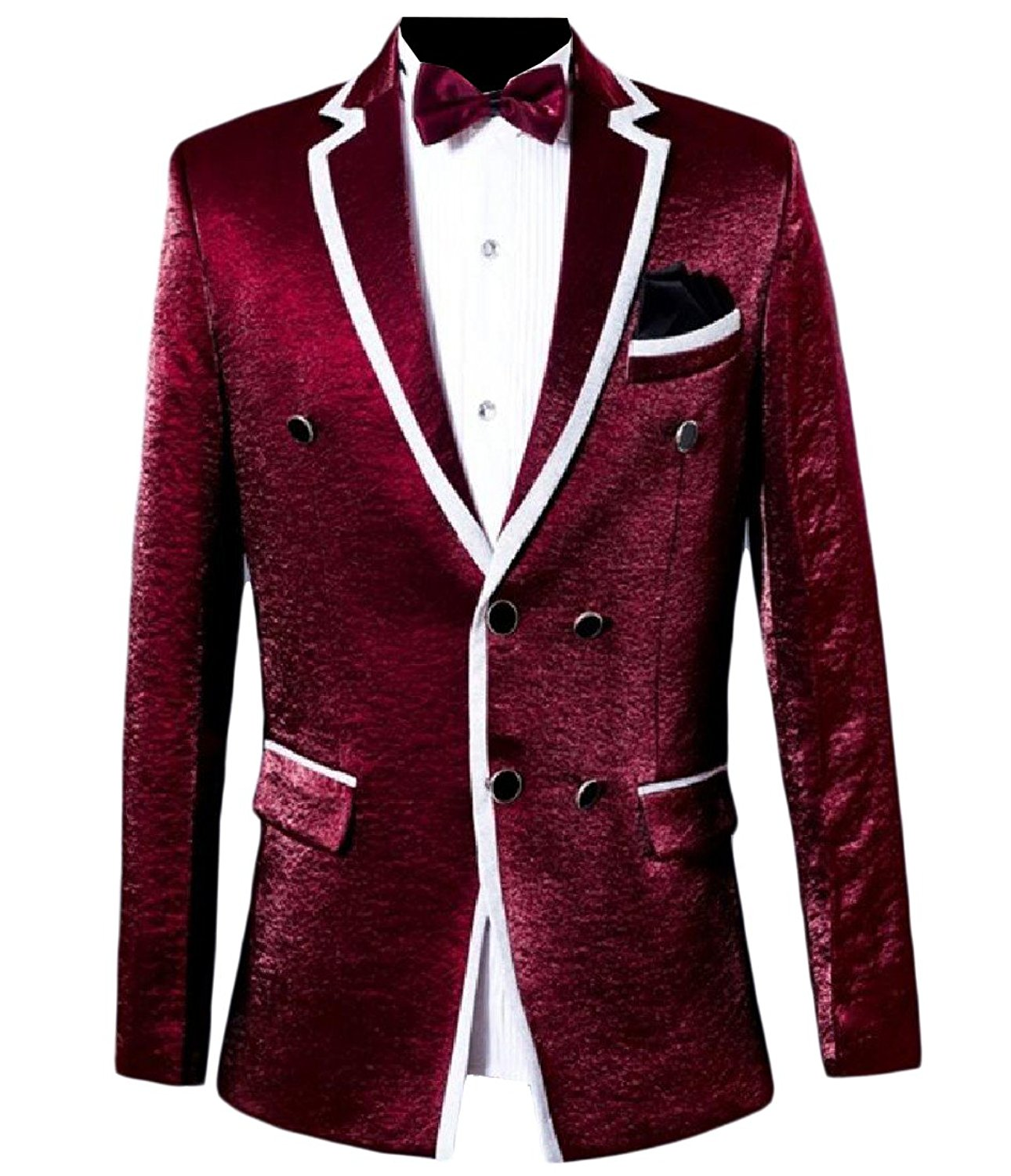 Sheng Xi Mens Solid-Colored Double-Breasted 2 Piece Set Blazer Jacket Coat