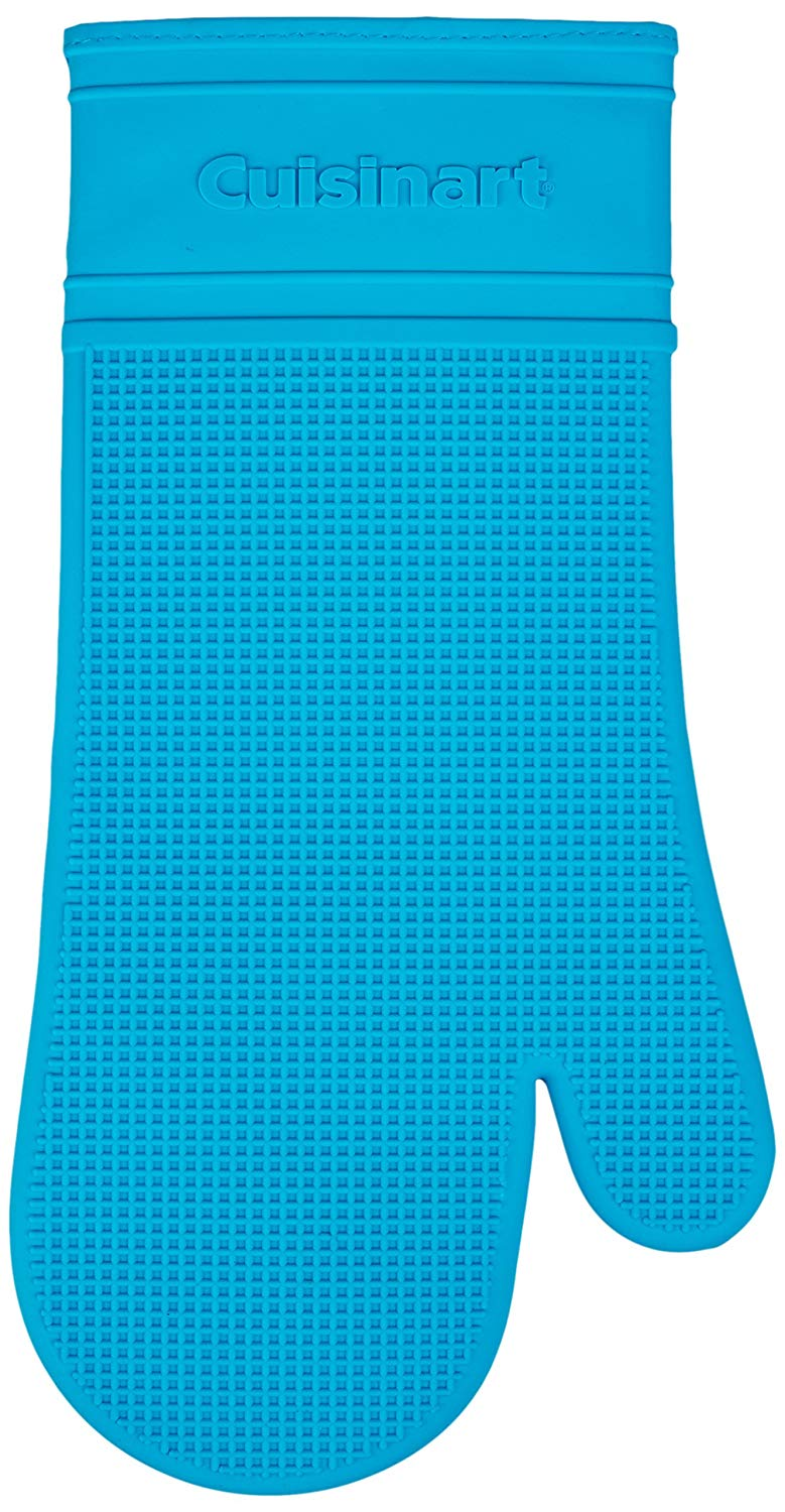 Cuisinart Silicone Heat-Proof Oven Mitt with Quilted Cotton Lining, Aqua