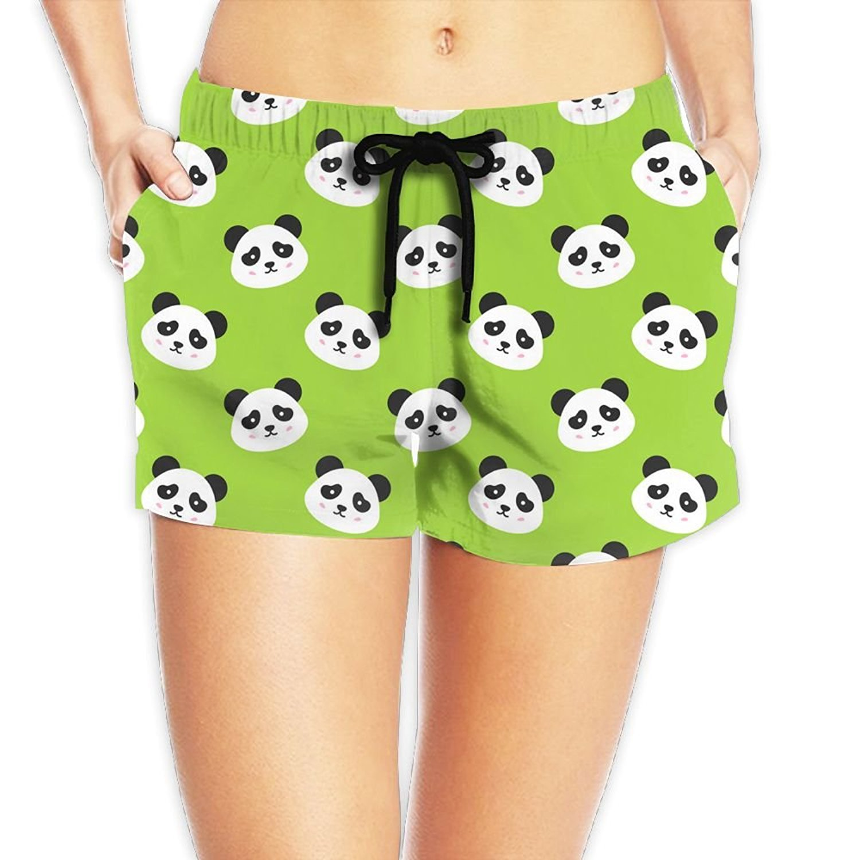 ffaf7f2f6b Get Quotations · Fashionboards Women's Board-Shorts USA American Flag Happy  Panda Green Beach Shorts Swim Trunks