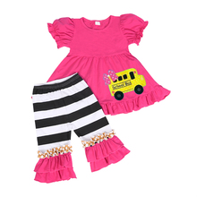 Kids summer clothing sets with bus pattern baby girls boutique outfits ruffle pants clothes set