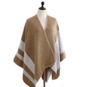 Wholesale ladies double side Jacquard faux cashmere feel oversized thick Ruana shawl for winter