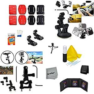 Xtech 23 Piece Accessory Kit for GoPro HERO4 Hero 4, GoPro Hero3+ Hero 3+, GoPro Hero3 Hero 3, GoPro Hero2 Hero 2, GoPro Surf Hero, GoPro Hero Naked, GoPro Hero 960 Digital Cameras Incldes: Car and Flat surface Suction Cup Mount + Bicycle Handlebar + Flat/ Curvy Adhesive Sticky Mounts + 2 J-Hooks +