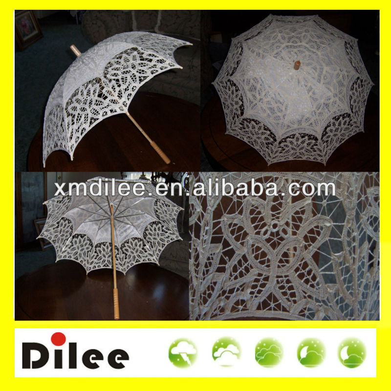 22''x 8k silk decorative Victorian stick umbrella