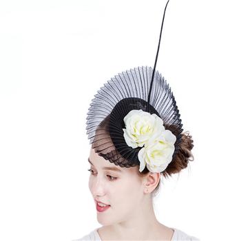 British fashion stunning shaped race ascot rose flower feather bow sinamay  fascinators 1ffce3a8df4