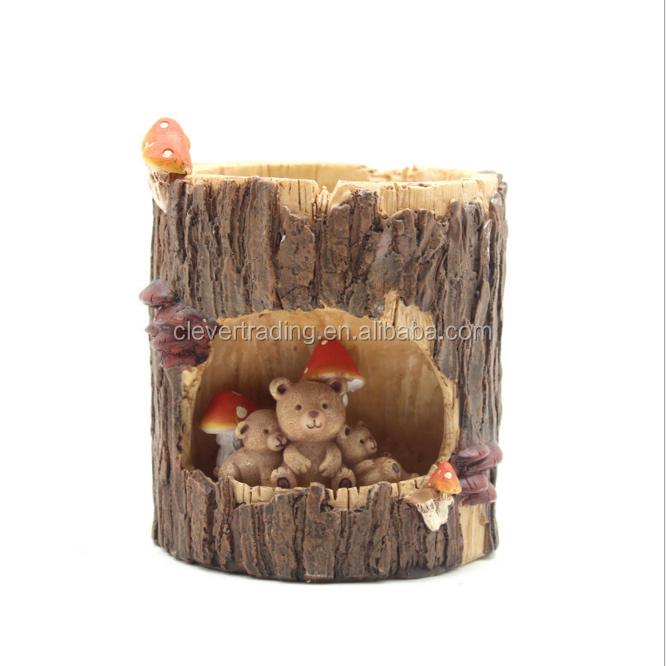 Resin Creative Natural Round Tree hole Design Flower Pot