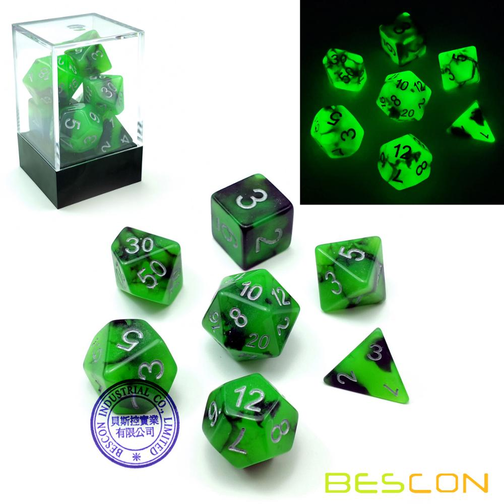 Bescon Two-Tone Glow-in-the-Dark Polyhedral Dice Set SPOOKY ROCKS, Luminous RPG Dice Set d4 d6 d8 d10 d12 d20 d% Brick Box Pack фото