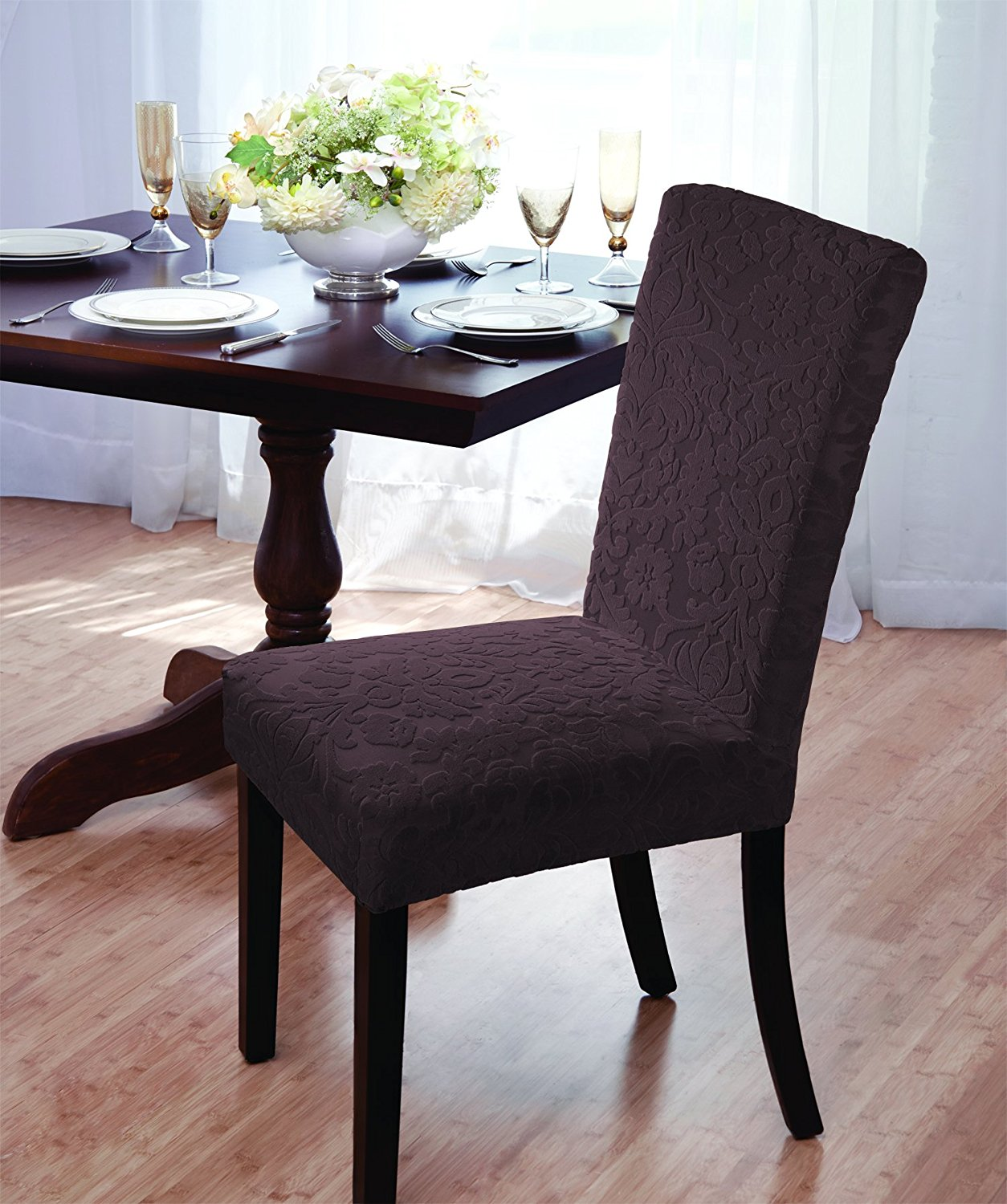 Get quotations · luxurious velvet damask dining chair cover beige burgundy brown green chocolate