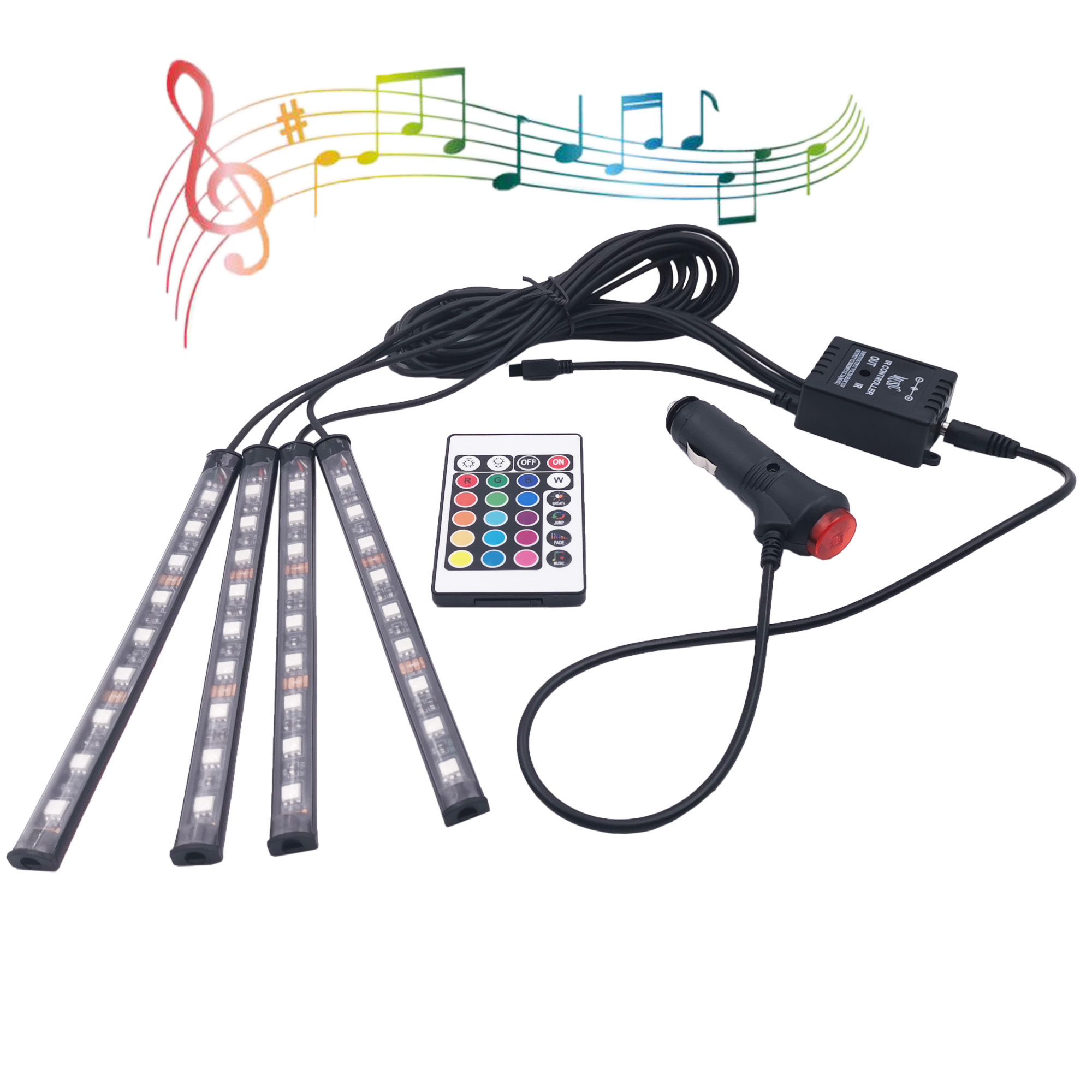 Wireless remote control led flexible strip atmosphere lamp car RGB led strip light