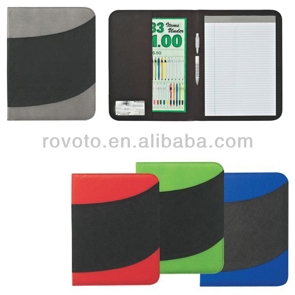 Rovoto corporate conference A4 leather portfolio file folder with memo paper