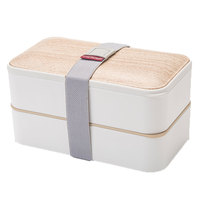 Wooden Printing Style Lunch Box, Double Layer Rectangle Leak Proof Microwave Heated Safe Kids BPA Food Grade PP Tiffin Lunch Box