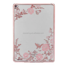 Fancy flower diamond chrome tpu cover case for iPad Air 2, Chrome tpu case for iPad 6