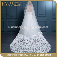 The super long soft tulle islamic wedding veil with lace wedding dress