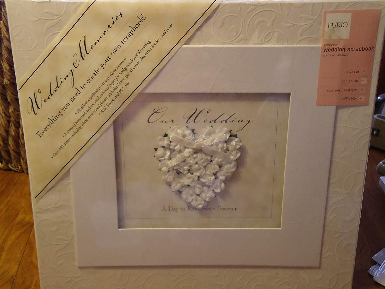 "Furio 12 x 12"" Wedding Memories Scrapbook Kit - Refillable album, pages, protectors, embelishments"
