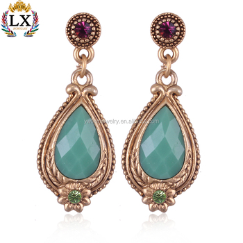 7952ad481 ELX-00301 traditional wedding gold jade artificial emerald indian earrings  jhumka designs
