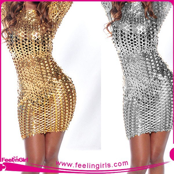 Wholesale Top Sale Ladies Stretch Silver Bodycon Dresses for Juniors