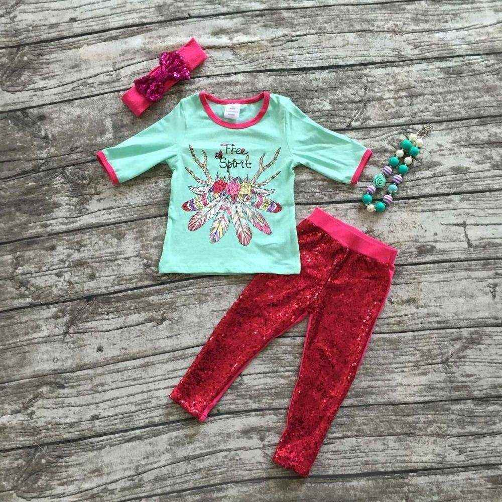 baby Girls Fall outfits girls free sport clothing sequin pant sets baby boutique clothes with mathcing headband and necklace