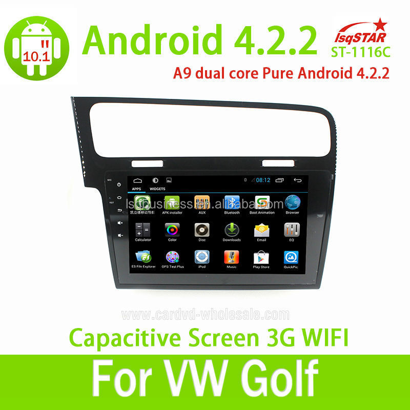 2014 New VW Golf 7 Android 4.2.2 Big Touch Screen Car DVD With GPS Built in wifi 3G Hot Selling