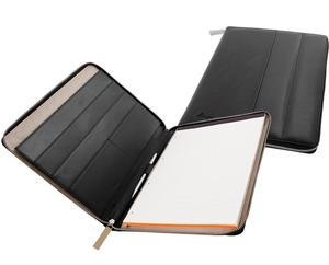 Black Passenger A4 Leather Portfolio Folders with Zip