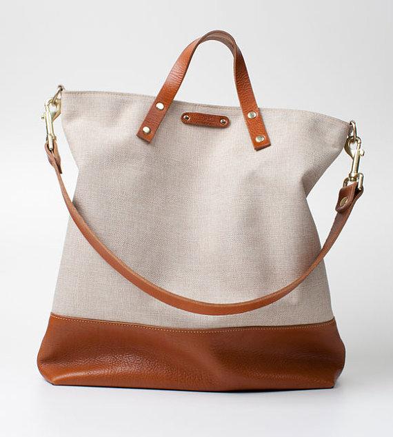Handmade Canvas Bag With Leather Trim Fashion Shopping Bag ... 1f7d1d7b69d0