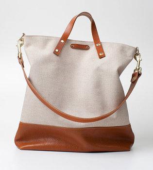 385fd78e05 Handmade Canvas Bag With Leather Trim Fashion Shopping Bag ...