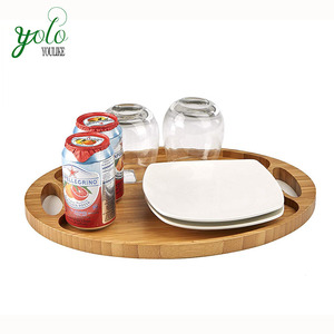 Bamboo Wooden Serving Tray, Decorative Display for Countertop